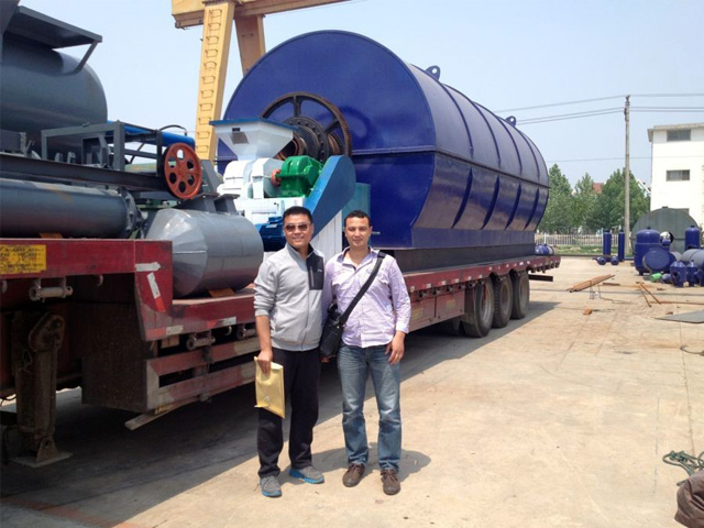 Delivery to Asia of Waste Tyre Recycling Pyrolysis to Diesel Line