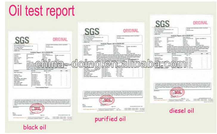 SGS report of tire Oil & Diesel from Pyrolysis plant
