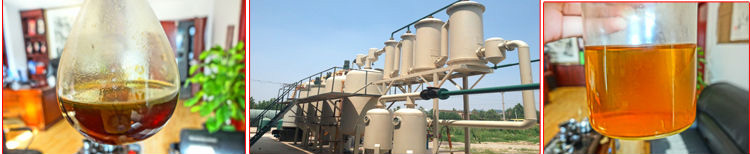 Distillation of tyre pyrolysis oil line