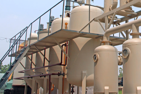 Waste engine oil refining to diesel plant