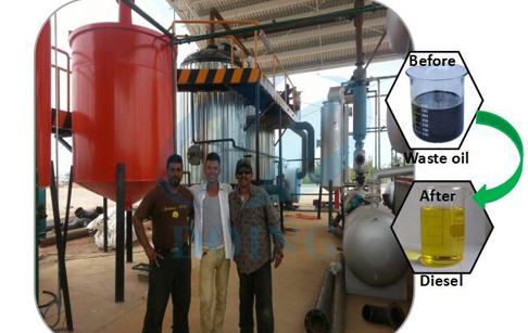 Waste oil diesel conversion plant