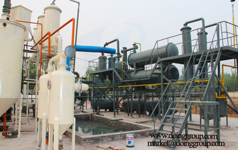 Tyre pyrolysis oil distillation process machines