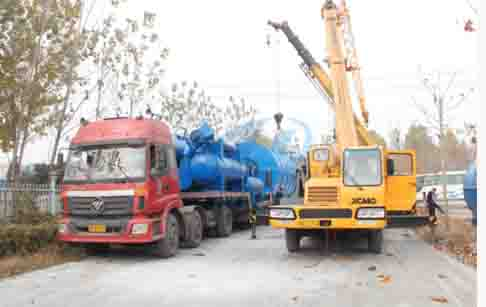 10T/D conversion waste rubber tyres tires to fuel oil pyrolysis plant delivered ...