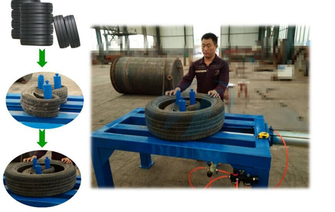 Tire doubling tripling machine doubling waste tire running video