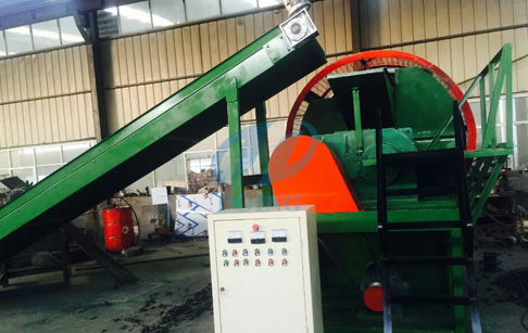 Tire crusher shreder crushing waste tire machine test befor delivery