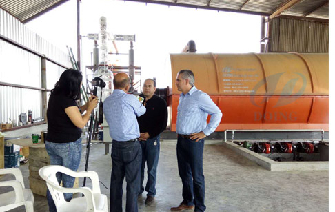 Waste tyre reycling pyrolysis plant installed in Mexico by reported video