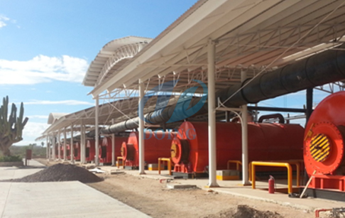 3 sets 10-ton waste tyre pyrolysis process plants  installed in ZhanJiang of Gua...