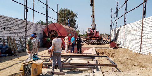 Egypt 12T/D waste tire pyrolysis plant being installed
