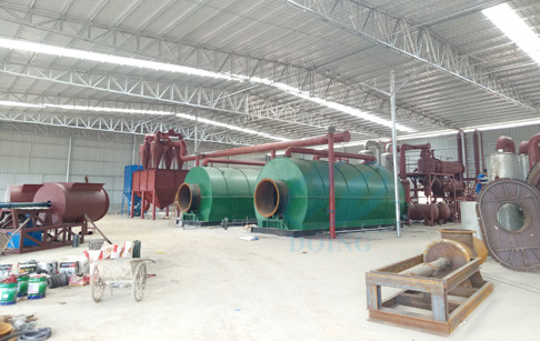 Guangdong successful installation of 2 sets 12T/D pyrolysis tyre recycling plant...