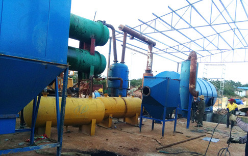 The second installation of 2 sets 10T/D used tyre pyrolysis plants for Yunnan cu...