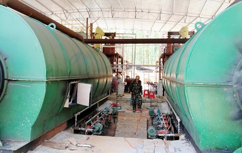 3 sets pyrolysis tyre recycling plants successfully installed in Guangdong, Chin...