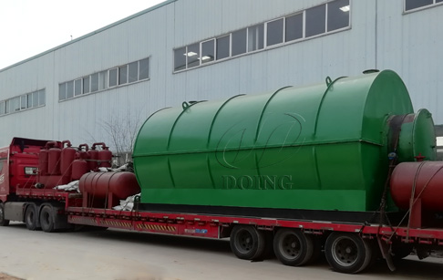 4 sets 12T waste tyre pyrolysis plant are ready for delivery to Guizhou, China