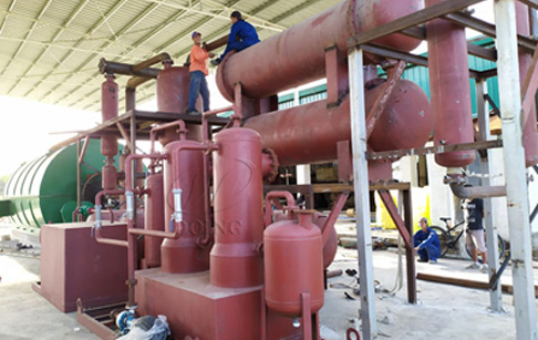 One set 12T waste tire to oil pyrolysis plant was installed in the Philippines