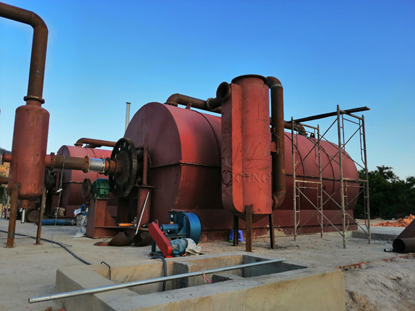 waste tire to oil recycling plant