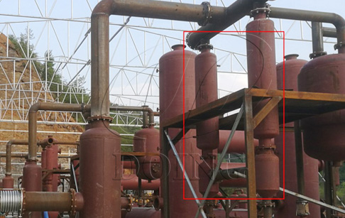 Why does DOING adopt vertical condenser in waste tyre pyrolysis plant?