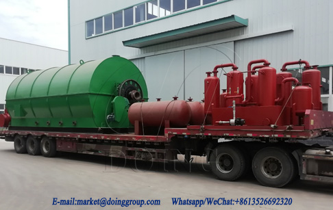 Two sets 12T waste tire pyrolysis plant were sent to Guangdong, China