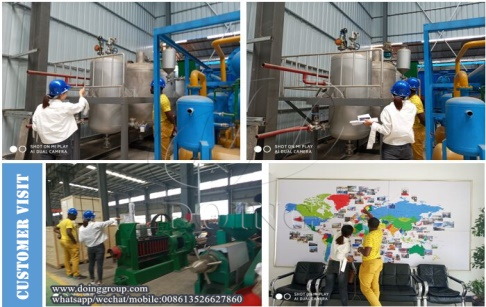 A customer from Cameroon came to learn about batch type cooking oil refining machine