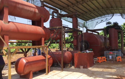 Waste tyre to oil pyrolysis plant project installed in Guangdong, China