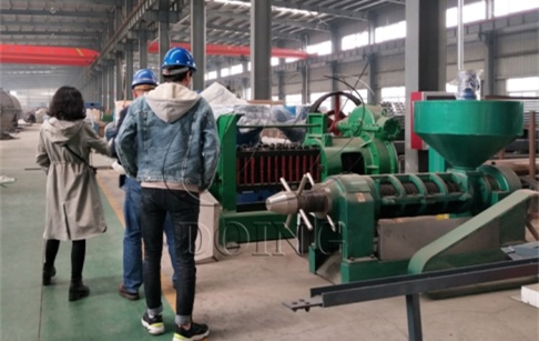 Two customers from Russia came to see rice bran oil manufacturing machine