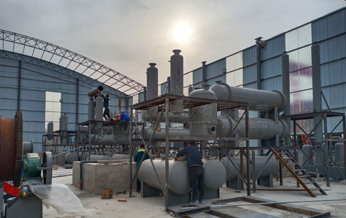 8 sets 12T waste tire pyrolysis machine were installed in Shanxi, China