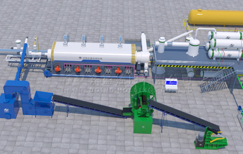 Fully continuous waste tyre to fuel oil recycling plant