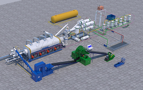 What is the workflow of fully continuous tyre pyrolysis plant?