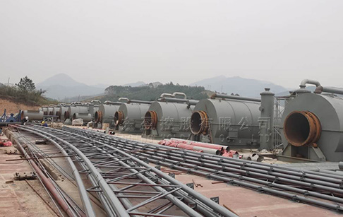 12 sets of 12T waste tire recycling to oil machine installed in Guangxi, China